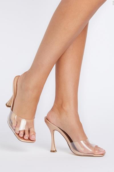 Rose Gold Clear Heeled Mule Sandal